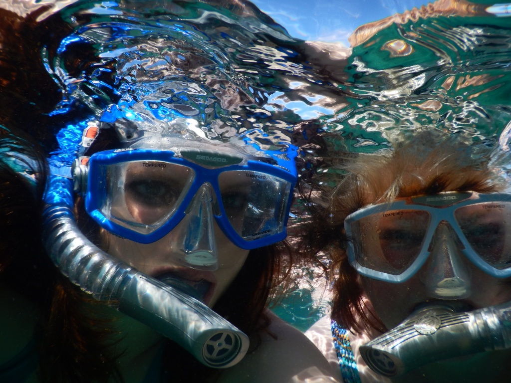 Me and my mom snorkelling at Brennecke's Beach.